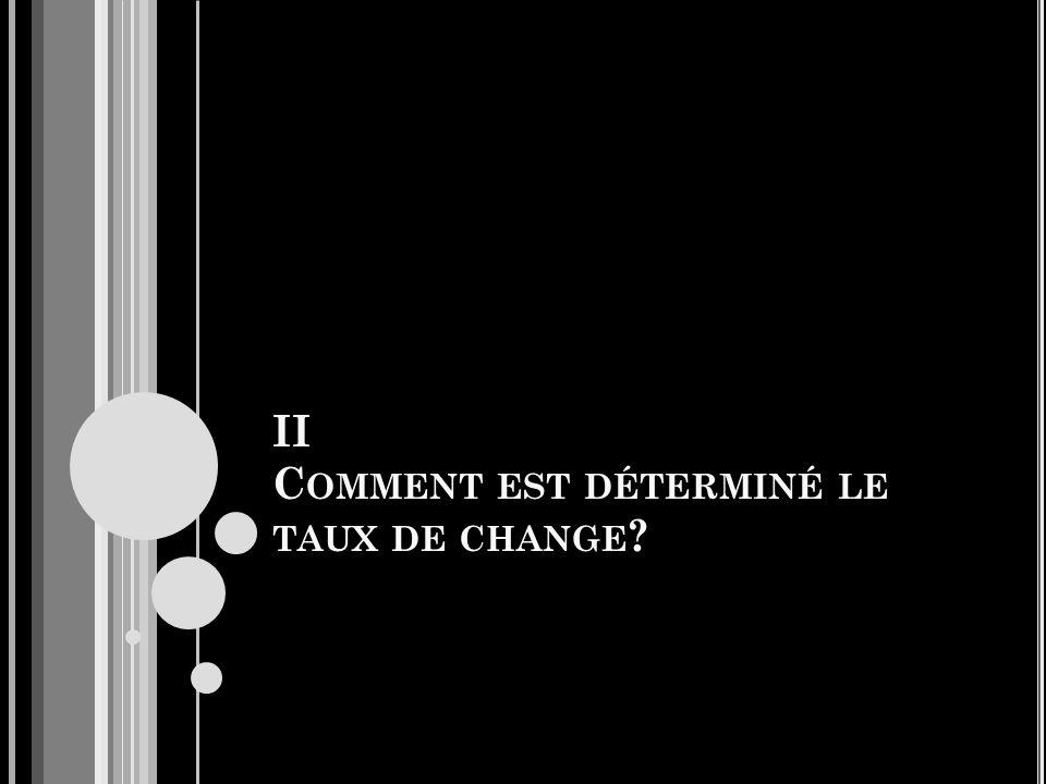 II C OMMENT EST DÉTERMINÉ LE TAUX DE CHANGE ?