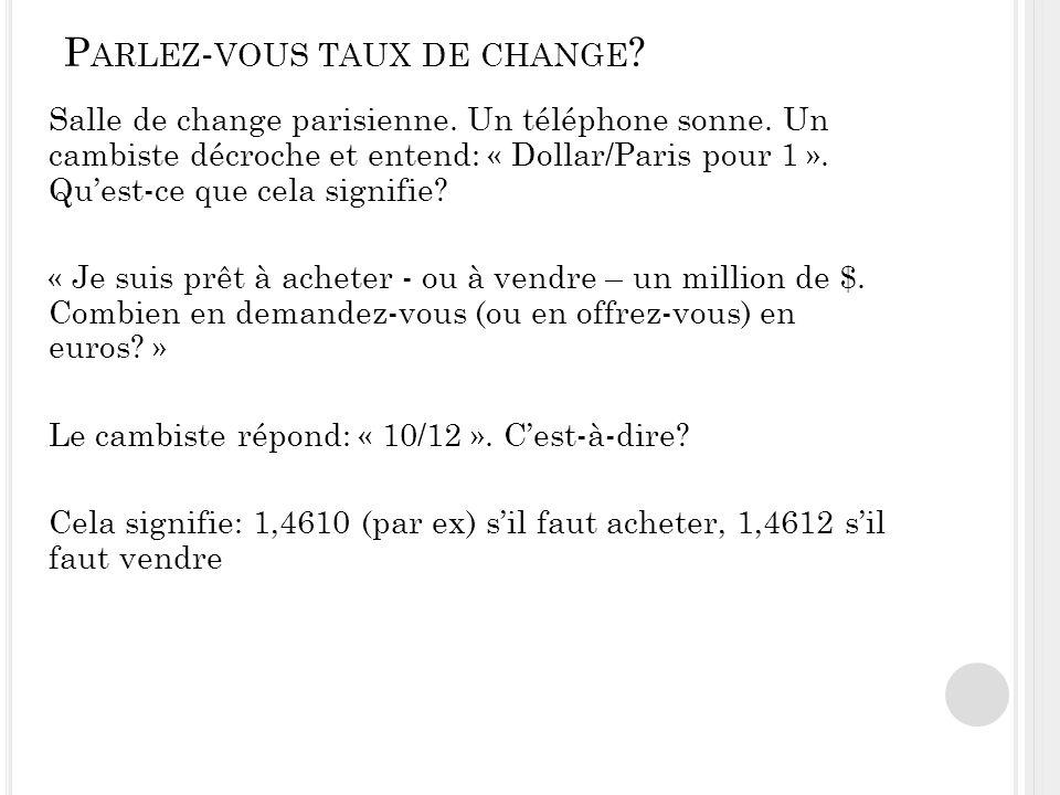 P ARLEZ - VOUS TAUX DE CHANGE .Salle de change parisienne.