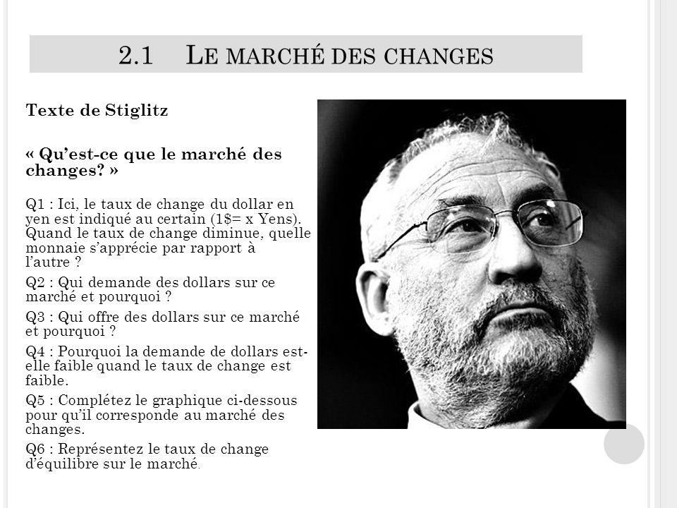 2.1L E MARCHÉ DES CHANGES Texte de Stiglitz « Quest-ce que le marché des changes.