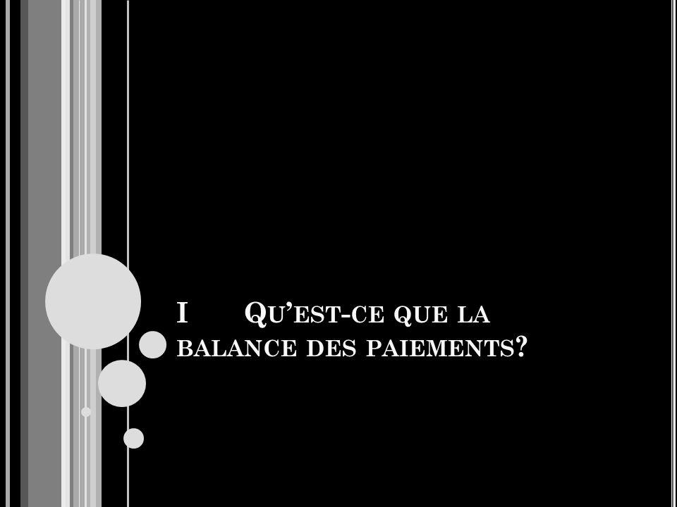 IQ U EST - CE QUE LA BALANCE DES PAIEMENTS ?