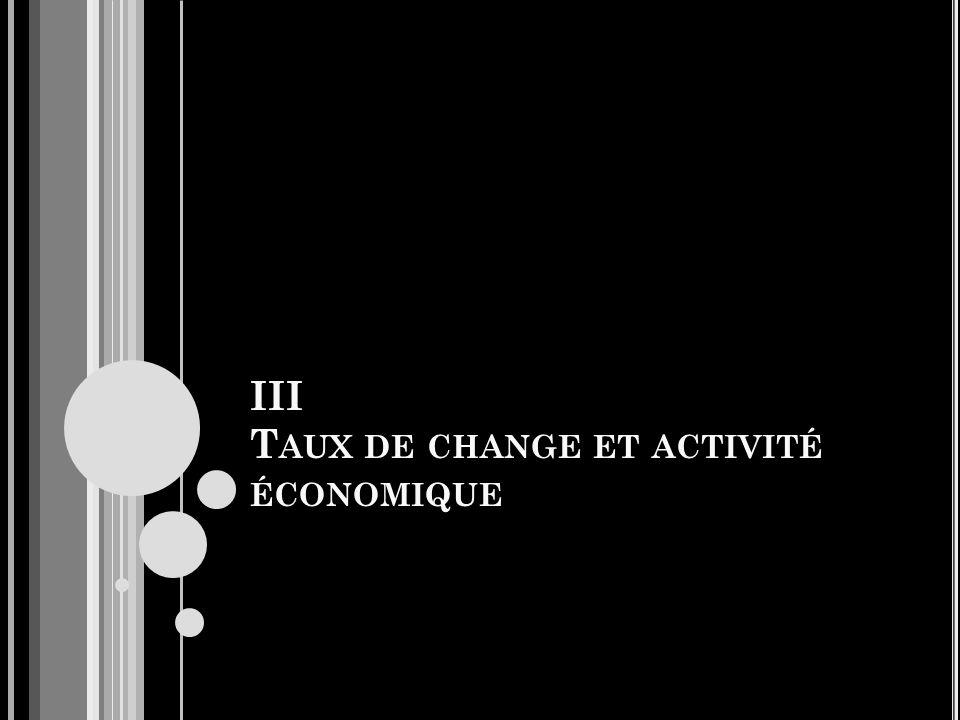III T AUX DE CHANGE ET ACTIVITÉ ÉCONOMIQUE