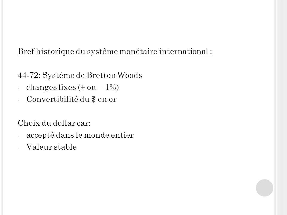Bref historique du système monétaire international : 44-72: Système de Bretton Woods - changes fixes (+ ou – 1%) - Convertibilité du $ en or Choix du dollar car: - accepté dans le monde entier - Valeur stable