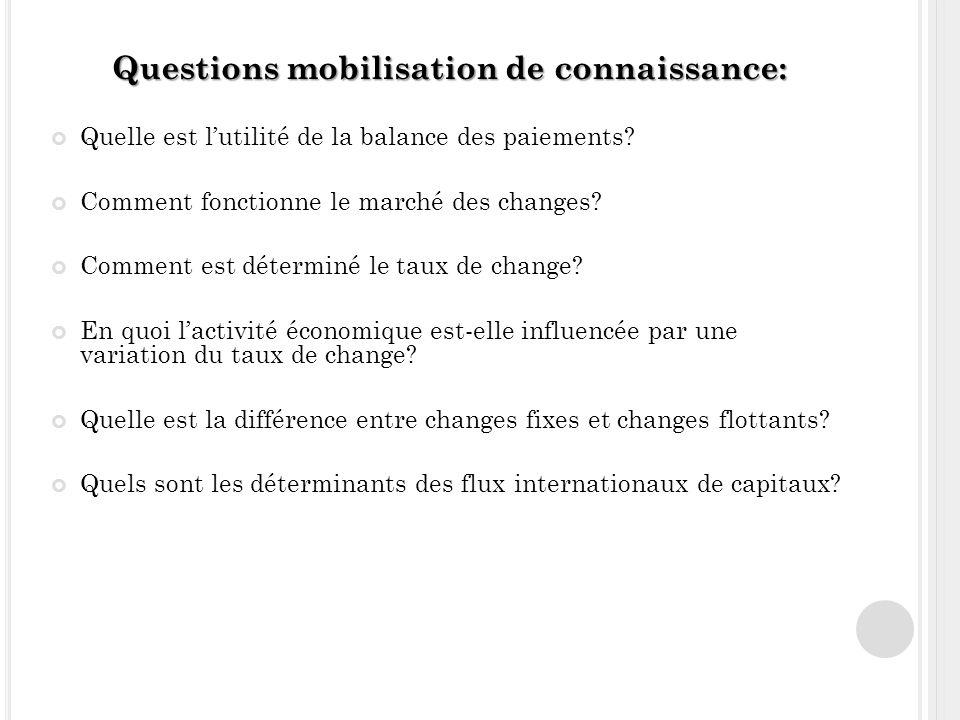 Questions mobilisation de connaissance: Quelle est lutilité de la balance des paiements.