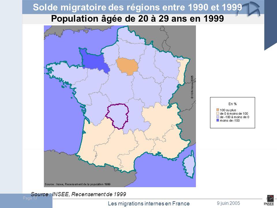 Page 14 Les migrations internes en France 9 juin 2005 Solde migratoire des régions entre 1990 et 1999 Population âgée de + de 60 ans en 1999 Source : INSEE, Recensement de 1999