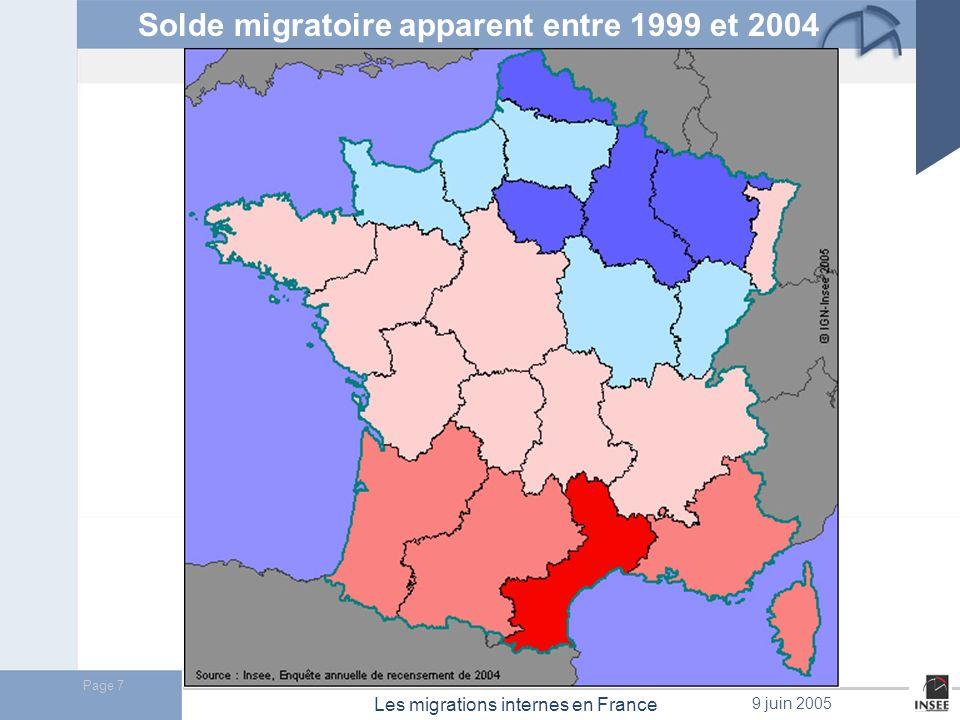 Page 8 Les migrations internes en France 9 juin 2005 Entre 1999 et 2004 : 19,5 millions de personnes ont changé de logement en France métropolitaine.