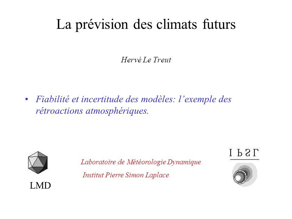 La prévision des climats futurs Hervé Le Treut Fiabilité et incertitude des modèles: lexemple des rétroactions atmosphériques.