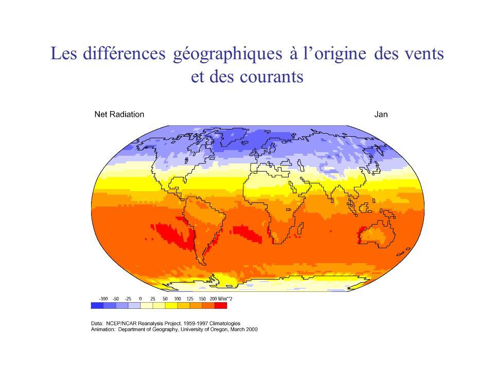 Les différences géographiques à lorigine des vents et des courants