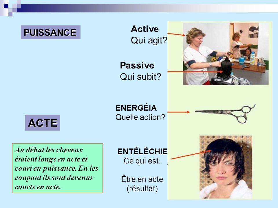 ACTE PUISSANCE Active Qui agit? Passive Qui subit? ENERGÉIA Quelle action? ENTÉLÉCHIE Ce qui est. Être en acte (résultat) Au début les cheveux étaient