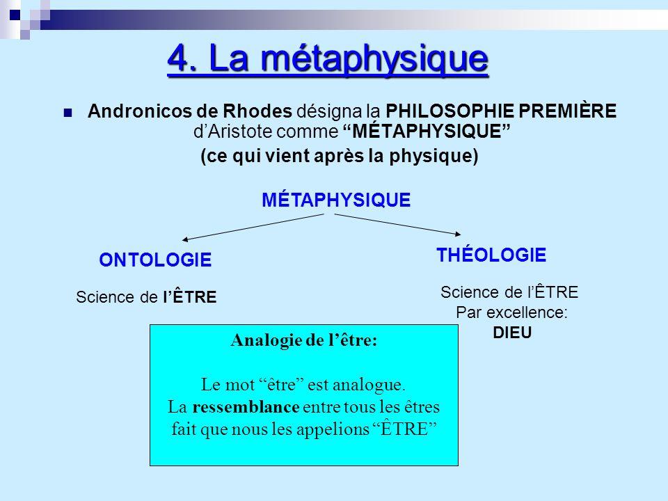 4. La métaphysique Andronicos de Rhodes désigna la PHILOSOPHIE PREMIÈRE dAristote comme MÉTAPHYSIQUE (ce qui vient après la physique) MÉTAPHYSIQUE ONT