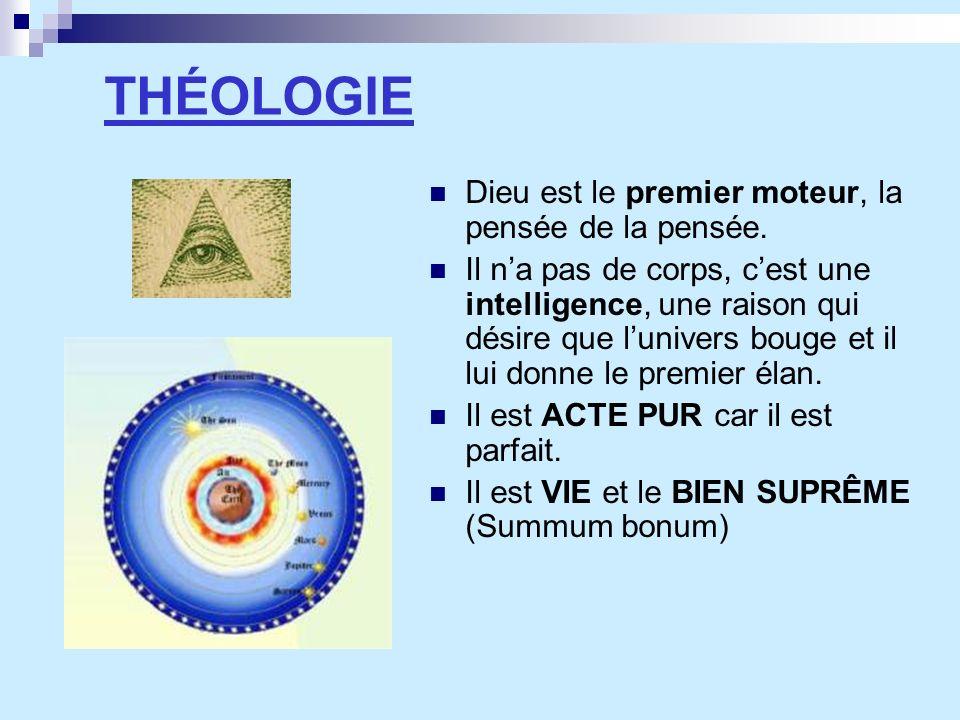 THÉOLOGIE Dieu est le premier moteur, la pensée de la pensée. Il na pas de corps, cest une intelligence, une raison qui désire que lunivers bouge et i