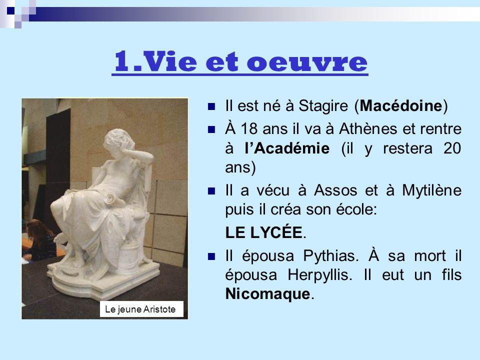 1.Vie et oeuvre Il est né à Stagire (Macédoine) À 18 ans il va à Athènes et rentre à lAcadémie (il y restera 20 ans) Il a vécu à Assos et à Mytilène p