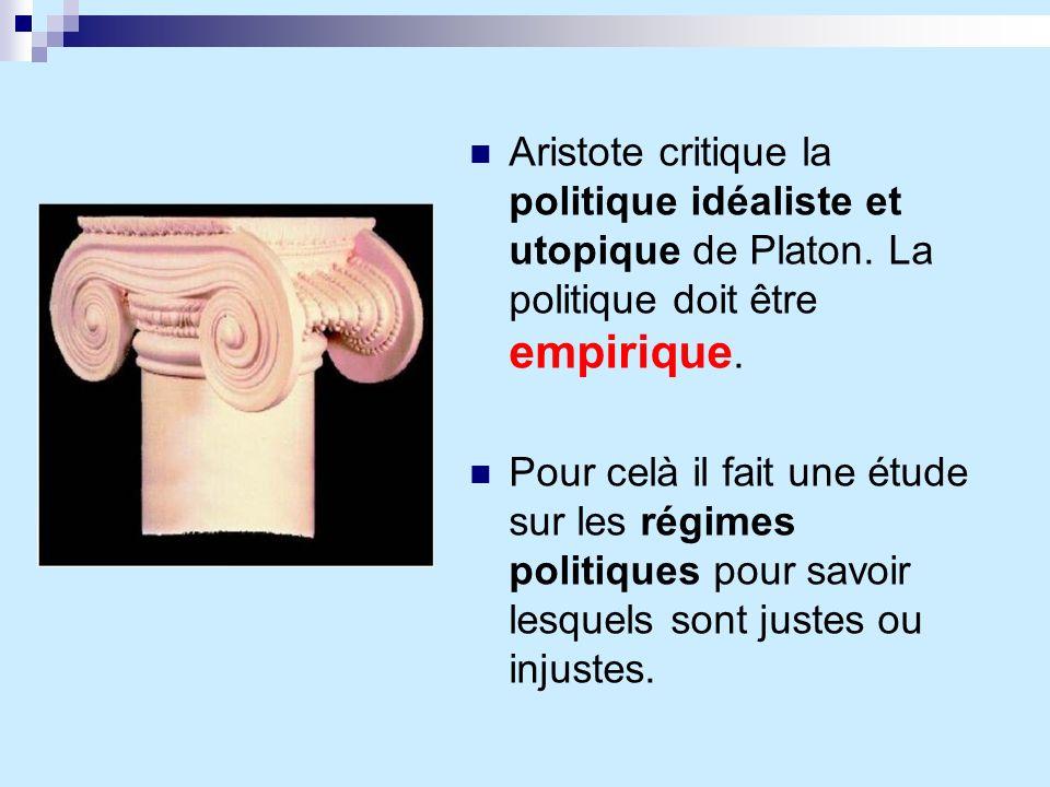 Aristote critique la politique idéaliste et utopique de Platon. La politique doit être empirique. Pour celà il fait une étude sur les régimes politiqu