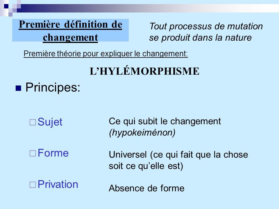 Première définition de changement Principes: Sujet Forme Privation Tout processus de mutation se produit dans la nature Première théorie pour explique
