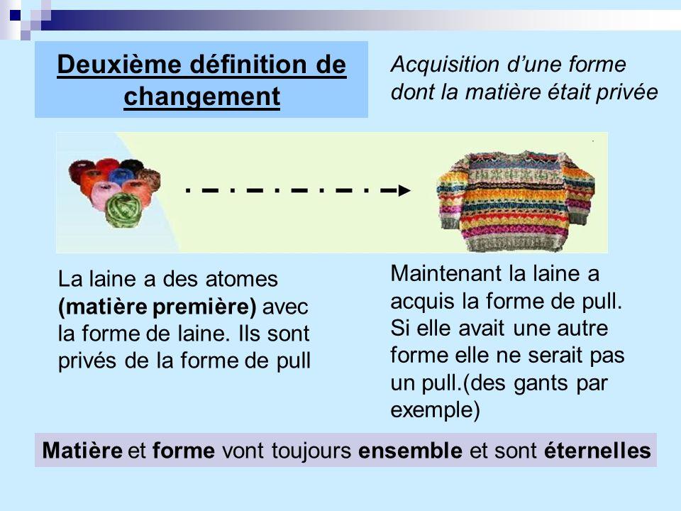 Deuxième définition de changement Acquisition dune forme dont la matière était privée La laine a des atomes (matière première) avec la forme de laine.
