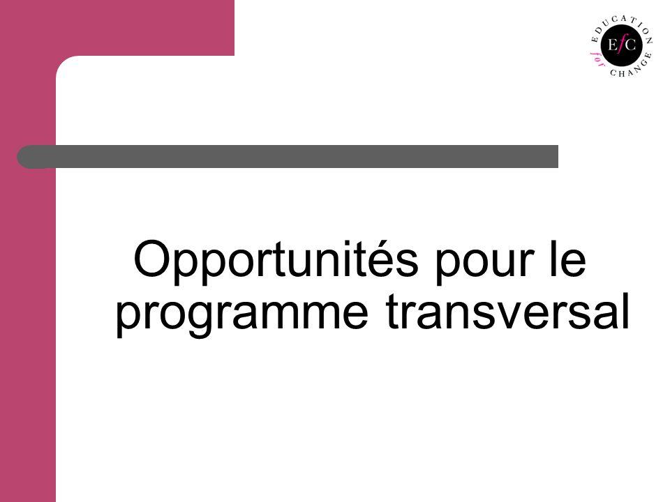Opportunités pour le programme transversal