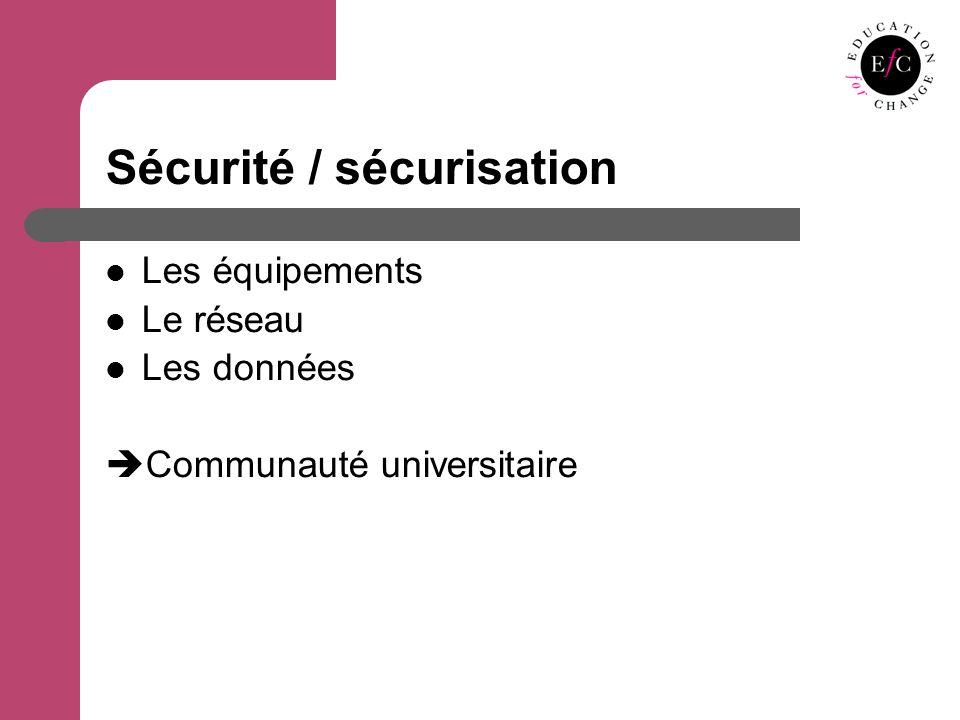 Sécurité / sécurisation Les équipements Le réseau Les données Communauté universitaire