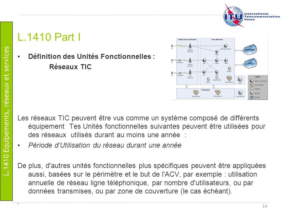14 Définition des Unités Fonctionnelles : Réseaux TIC Les réseaux TIC peuvent être vus comme un système composé de différents équipement Tes Unités fo