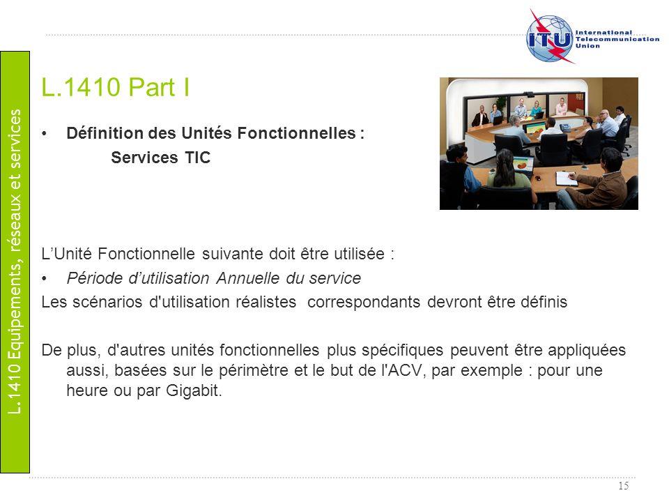 15 Définition des Unités Fonctionnelles : Services TIC LUnité Fonctionnelle suivante doit être utilisée : Période dutilisation Annuelle du service Les