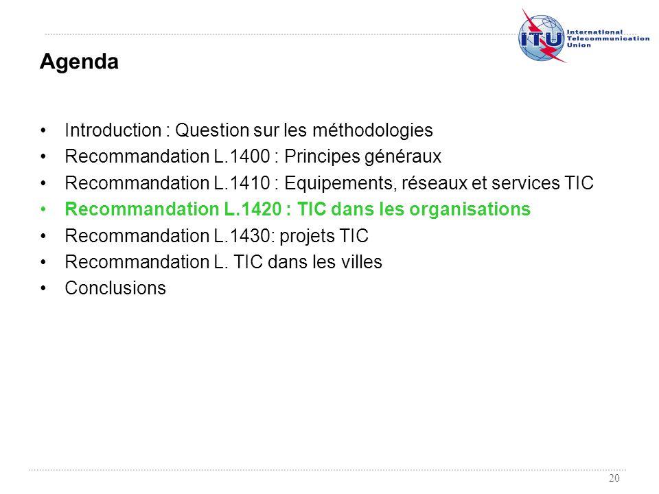 20 Introduction : Question sur les méthodologies Recommandation L.1400 : Principes généraux Recommandation L.1410 : Equipements, réseaux et services T