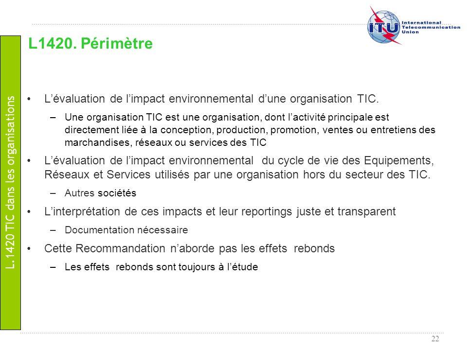 22 Lévaluation de limpact environnemental dune organisation TIC. –Une organisation TIC est une organisation, dont lactivité principale est directement