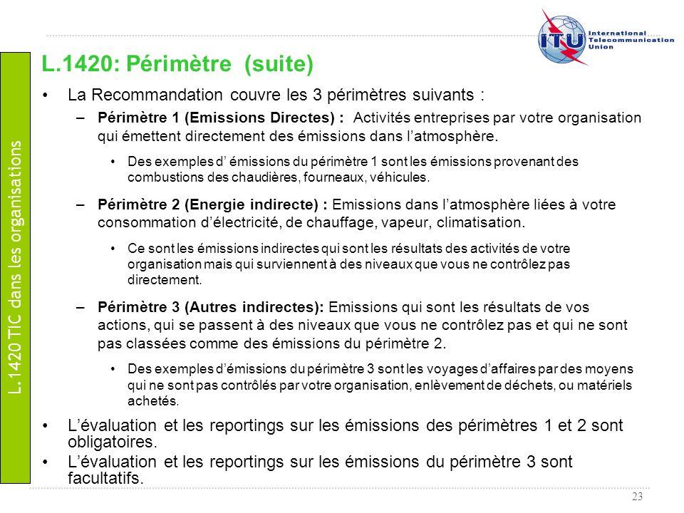 23 La Recommandation couvre les 3 périmètres suivants : –Périmètre 1 (Emissions Directes) : Activités entreprises par votre organisation qui émettent
