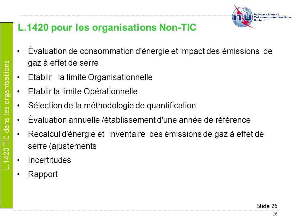 26 Slide 26 Évaluation de consommation d'énergie et impact des émissions de gaz à effet de serre Etablir la limite Organisationnelle Etablir la limite