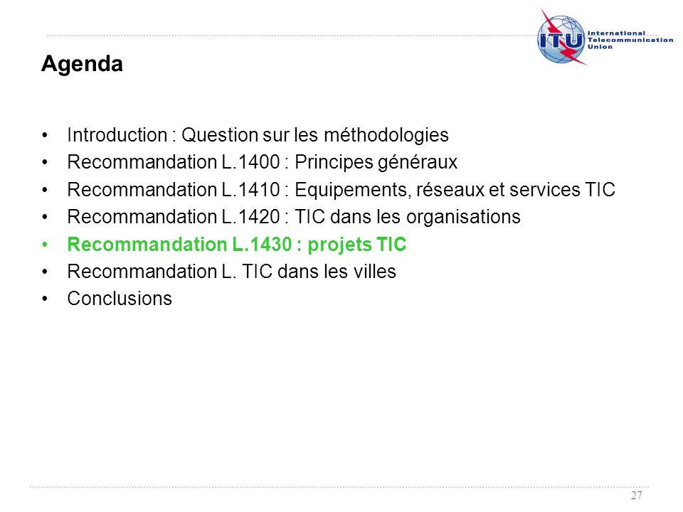 27 Introduction : Question sur les méthodologies Recommandation L.1400 : Principes généraux Recommandation L.1410 : Equipements, réseaux et services T