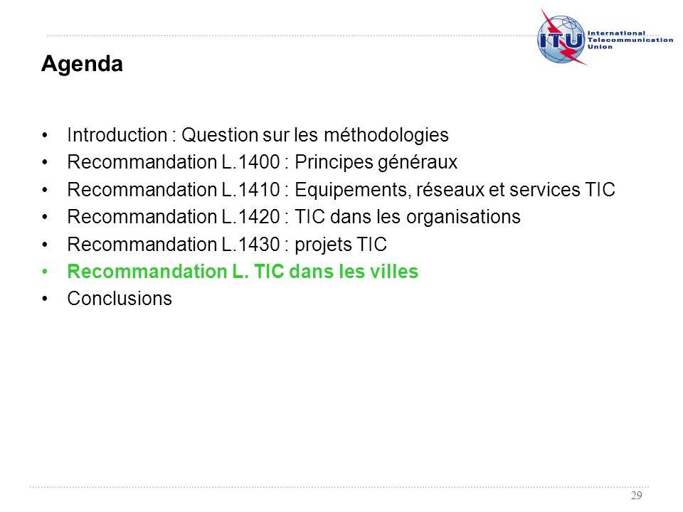 29 Introduction : Question sur les méthodologies Recommandation L.1400 : Principes généraux Recommandation L.1410 : Equipements, réseaux et services T