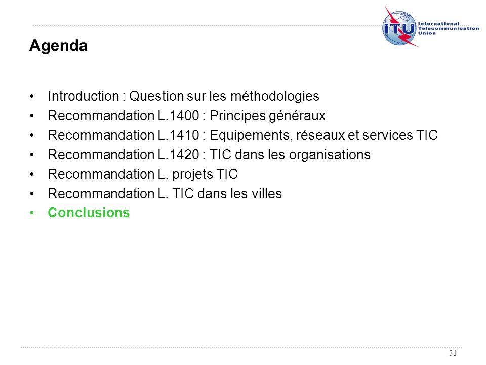 31 Introduction : Question sur les méthodologies Recommandation L.1400 : Principes généraux Recommandation L.1410 : Equipements, réseaux et services T