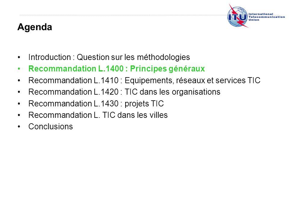 Introduction : Question sur les méthodologies Recommandation L.1400 : Principes généraux Recommandation L.1410 : Equipements, réseaux et services TIC