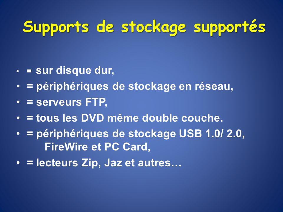 Supports de stockage supportés = sur disque dur, = périphériques de stockage en réseau, = serveurs FTP, = tous les DVD même double couche. = périphéri