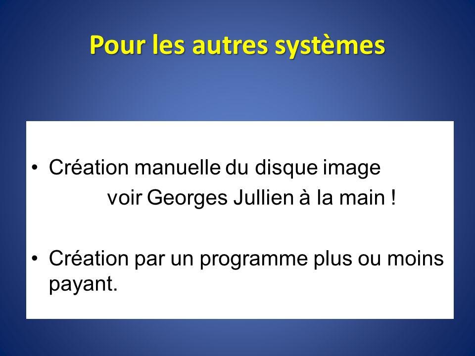 Pour les autres systèmes Création manuelle du disque image voir Georges Jullien à la main ! Création par un programme plus ou moins payant.