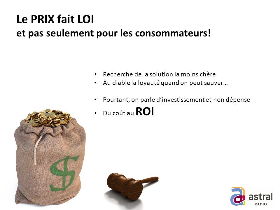 Le PRIX fait LOI et pas seulement pour les consommateurs.