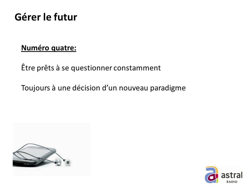 Gérer le futur Numéro quatre: Être prêts à se questionner constamment Toujours à une décision dun nouveau paradigme