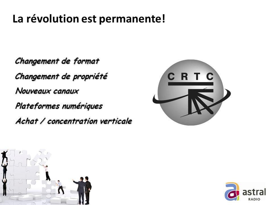 La révolution est permanente! Nouveaux canaux Plateformes numériques Changement de format Changement de propriété Achat / concentration verticale