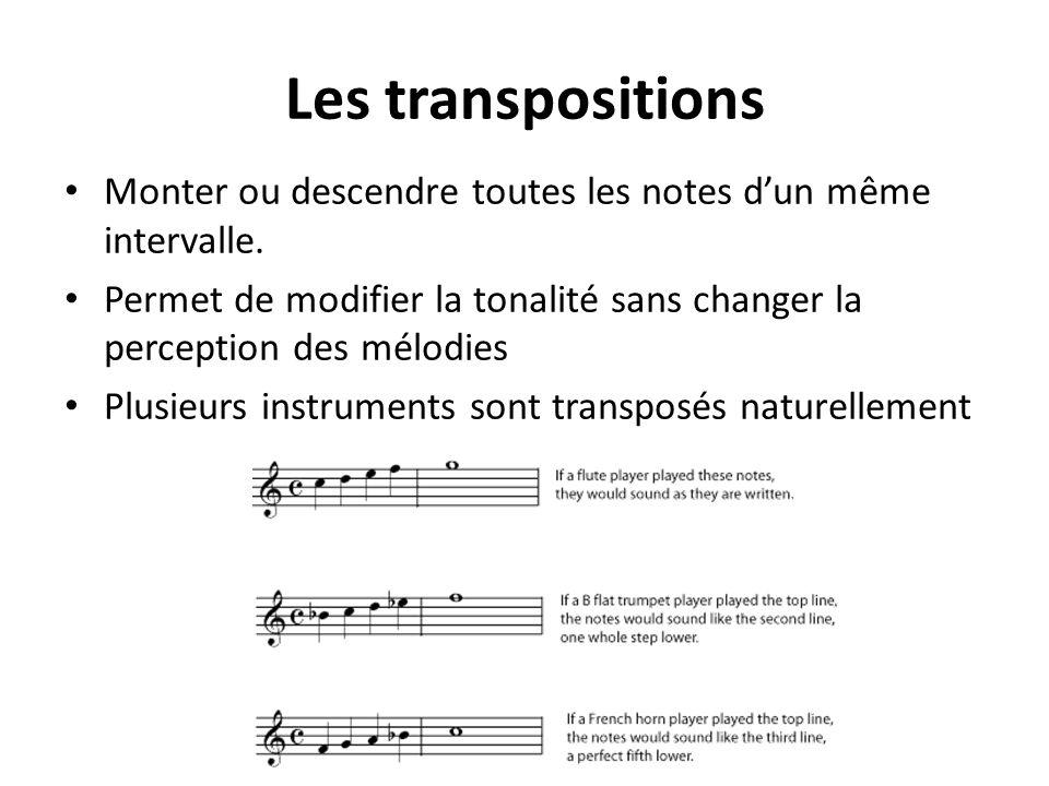 Les transpositions Monter ou descendre toutes les notes dun même intervalle. Permet de modifier la tonalité sans changer la perception des mélodies Pl