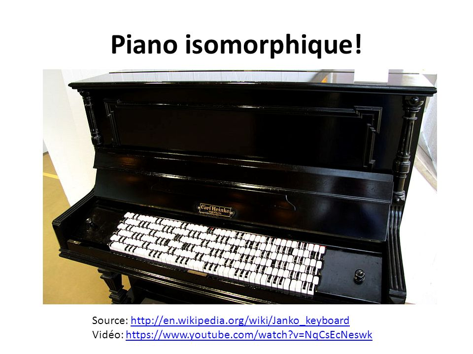 Piano isomorphique! Source: http://en.wikipedia.org/wiki/Janko_keyboardhttp://en.wikipedia.org/wiki/Janko_keyboard Vidéo: https://www.youtube.com/watc