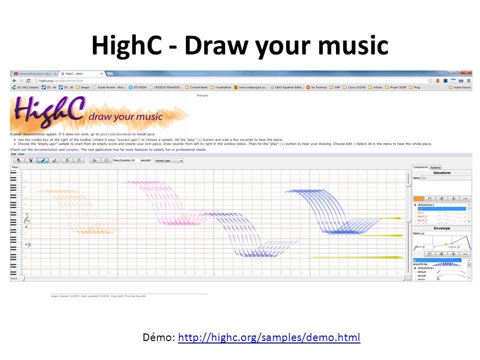 HighC - Draw your music Démo: http://highc.org/samples/demo.htmlhttp://highc.org/samples/demo.html
