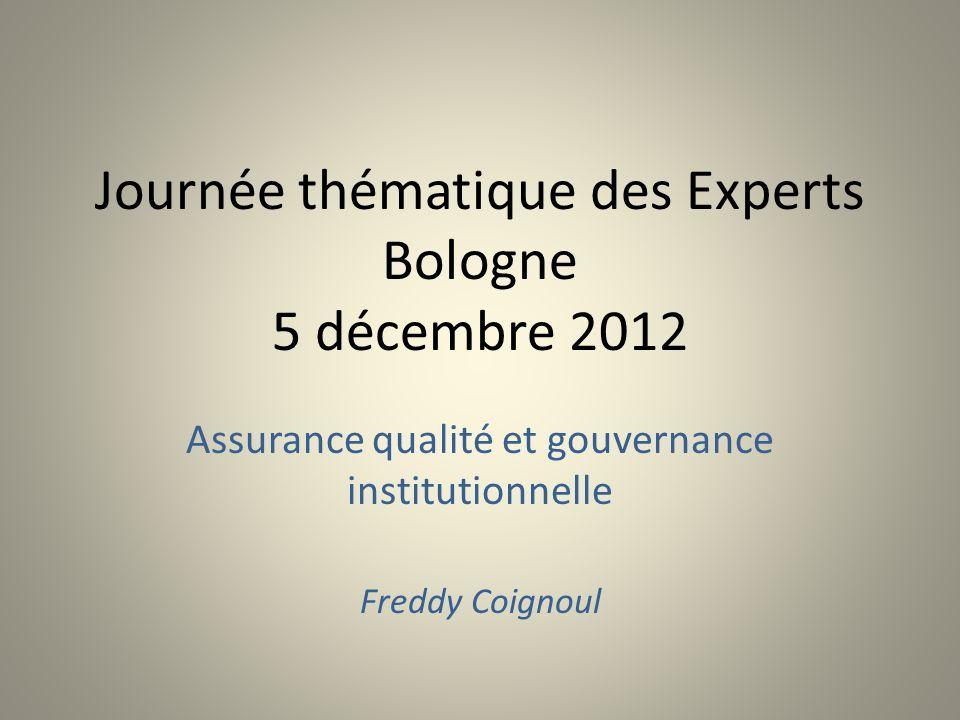 Journée thématique des Experts Bologne 5 décembre 2012 Assurance qualité et gouvernance institutionnelle Freddy Coignoul