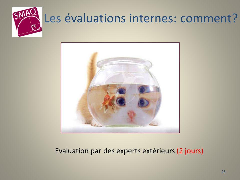 Evaluation par des experts extérieurs (2 jours) Les évaluations internes: comment? 23