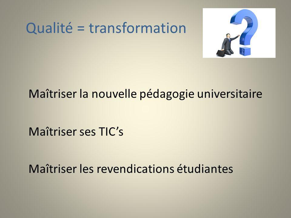 Qualité = transformation Maîtriser la nouvelle pédagogie universitaire Maîtriser ses TICs Maîtriser les revendications étudiantes