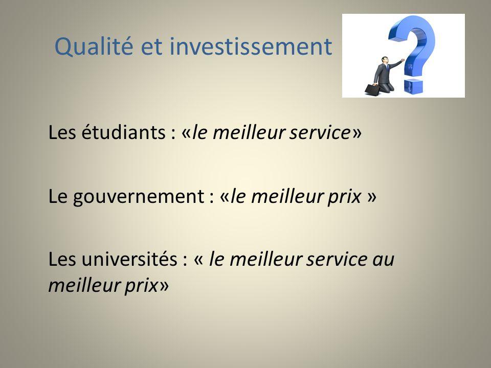 Qualité et investissement Les étudiants : «le meilleur service» Le gouvernement : «le meilleur prix » Les universités : « le meilleur service au meilleur prix»