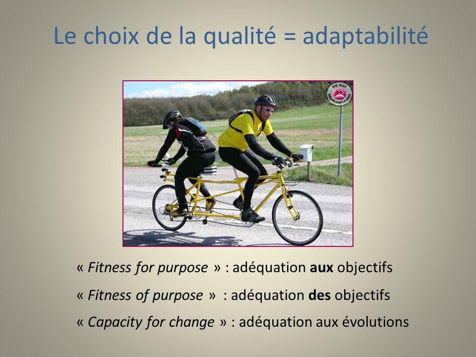« Fitness for purpose » : adéquation aux objectifs « Fitness of purpose » : adéquation des objectifs « Capacity for change » : adéquation aux évolutions Le choix de la qualité = adaptabilité
