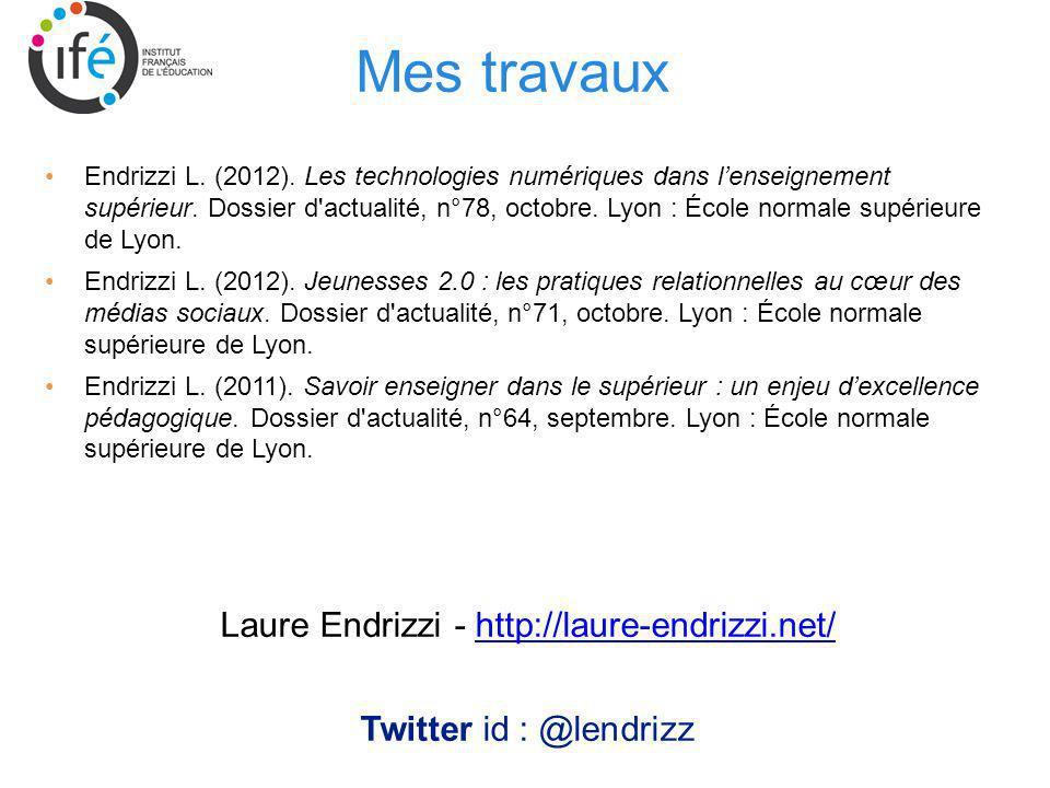 Mes travaux Endrizzi L. (2012). Les technologies numériques dans lenseignement supérieur. Dossier d'actualité, n°78, octobre. Lyon : École normale sup