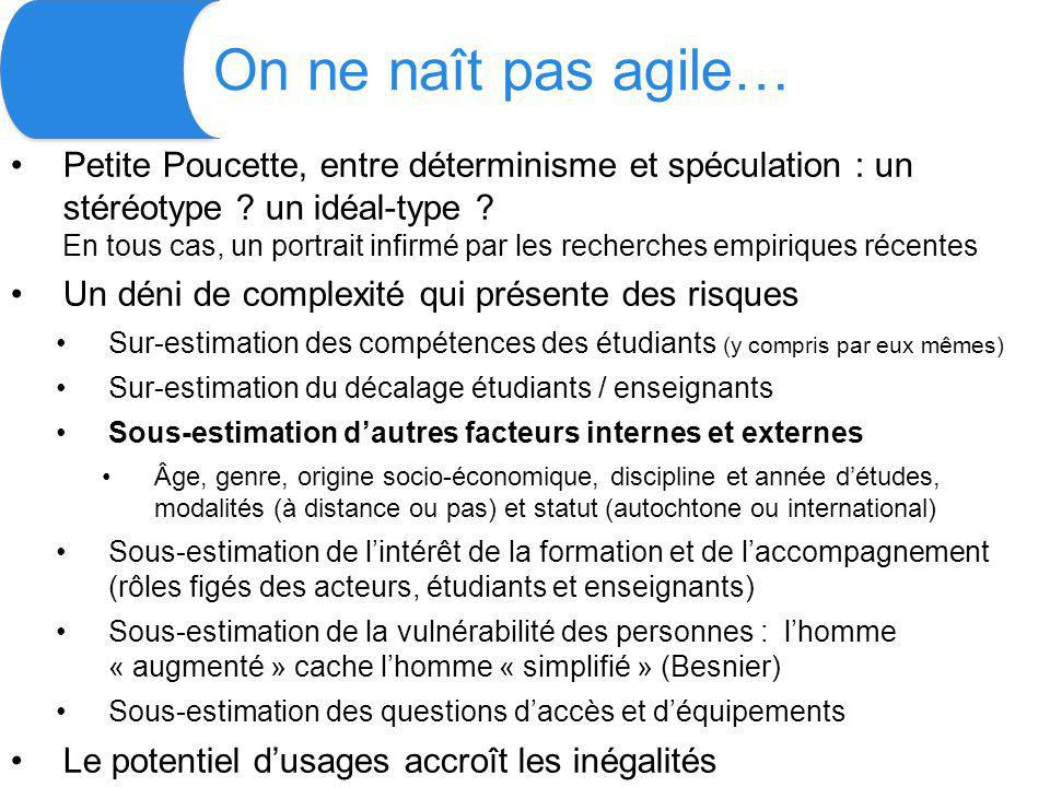On ne naît pas agile… Petite Poucette, entre déterminisme et spéculation : un stéréotype .