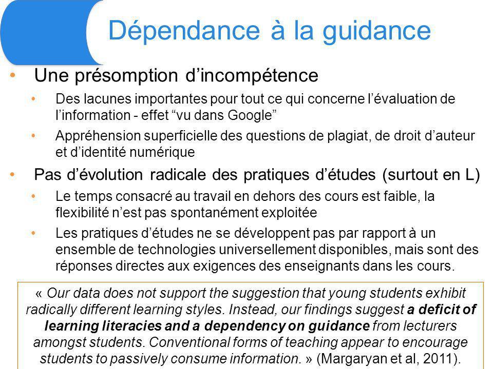 Dépendance à la guidance Une présomption dincompétence Des lacunes importantes pour tout ce qui concerne lévaluation de linformation - effet vu dans G