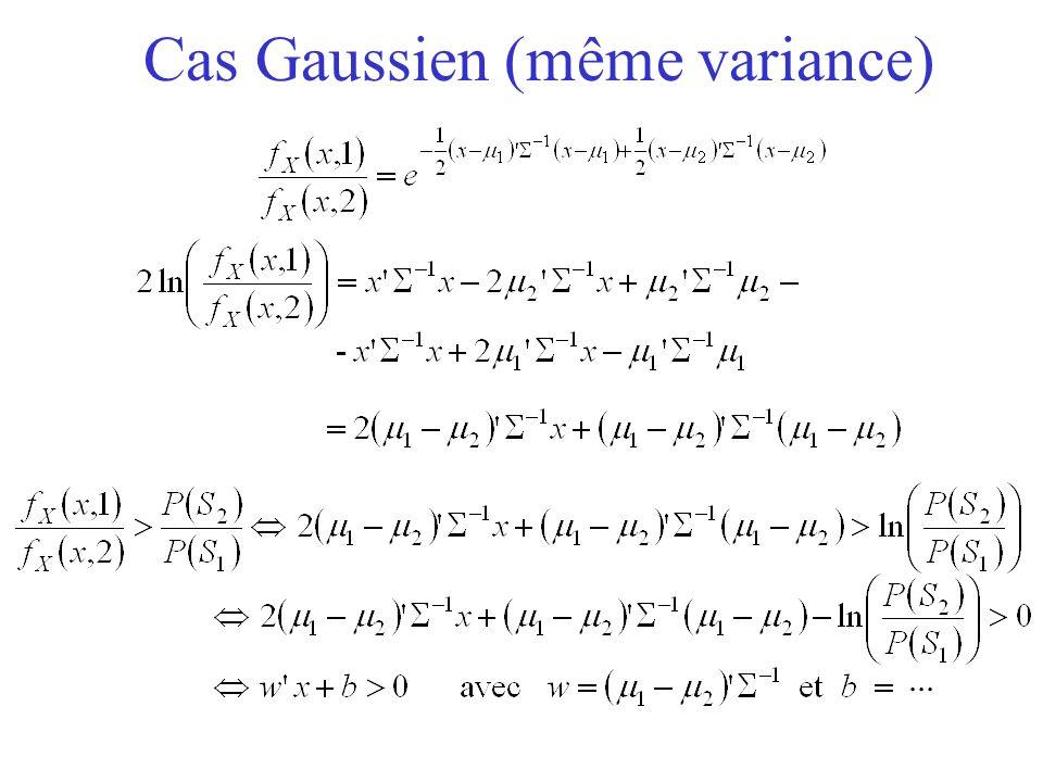 Cas Gaussien (même variance)...