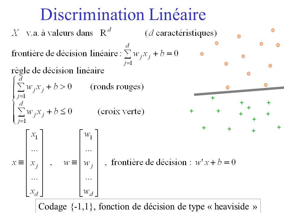 Discrimination Linéaire + + + + + + + + + + + + + Codage {-1,1}, fonction de décision de type « heaviside »