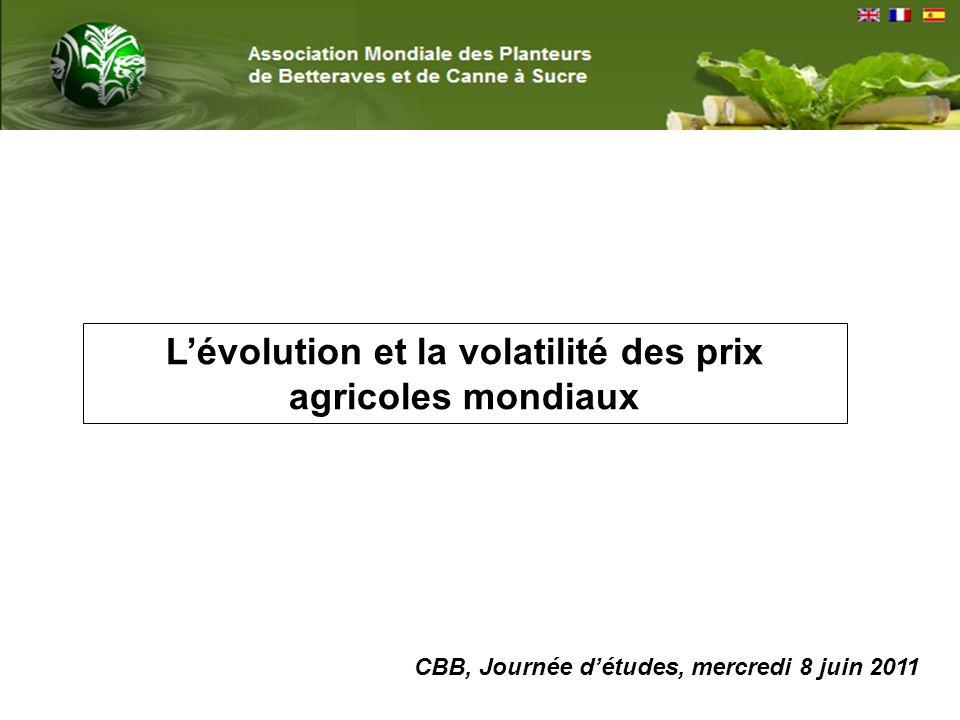 Lévolution et la volatilité des prix agricoles mondiaux CBB, Journée détudes, mercredi 8 juin 2011