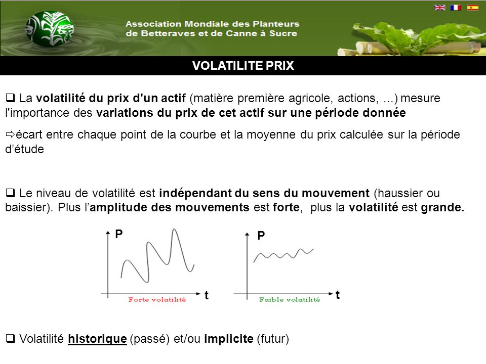 VOLATILITE : LE CAS DU SUCRE Volatilité historique décennale de 1960 à 2010 des cours du sucre Source : Données Banque Mondiale (2011) 62% 67% 65% 17% 28%